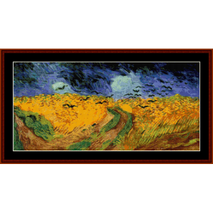 wheat field with crows - van gogh cross stitch pattern by cross stitch collectibles