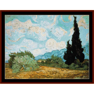 wheat field with cypress - van gogh cross stitch pattern by cross stitch collectibles