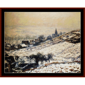 winter at giverny - monet cross stitch pattern by cross stitch collectibles