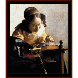 the lacemaker - vermeer cross stitch pattern by cross stitch collectibles