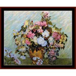 vase of roses ii - van gogh cross stitch pattern by cross stitch collectibles