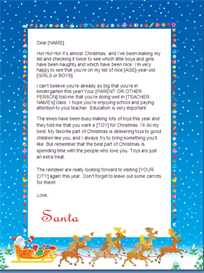 christmas letter from santa - new sibling (sleigh design)
