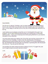 printable letter from santa - response to child (presents)