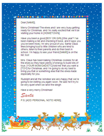 printable letter from santa w/customized p.s. (sleigh design)