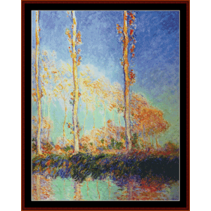 poplars 1891 - monet cross stitch pattern by cross stitch collectibles