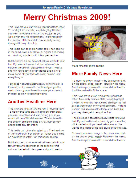christmas newsletter template blue snowman design other files