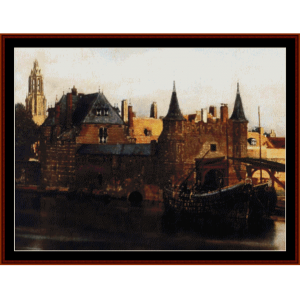 view of delft - vermeer cross stitch pattern by cross stitch collectibles