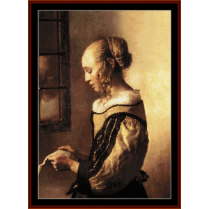 woman reading letter - vermeer cross stitch pattern by cross stitch collectibles
