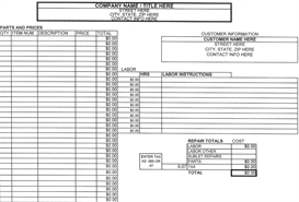 invoice estimate sheet calculator