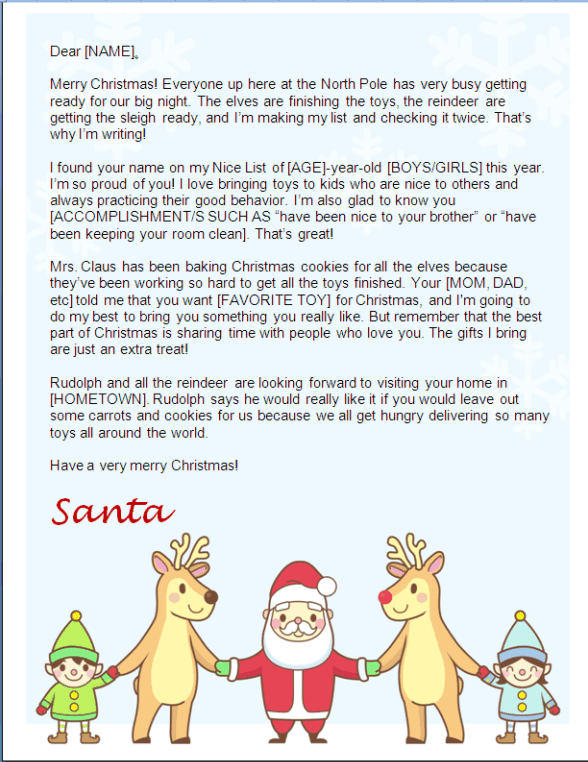 Christmas Letter From Santa Holding Hands Other Files Patterns