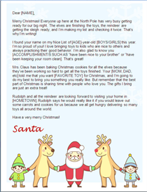 christmas letter from santa - holding hands