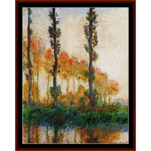three trees in autumn - monet cross stitch pattern by cross stitch collectibles