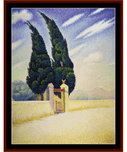 Two Cypresses - Signac cross stitch pattern by Cross Stitch Collectibles | Crafting | Cross-Stitch | Wall Hangings