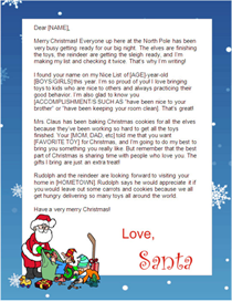 santa letter to print - santa with blue border