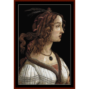 portrait of a woman ii - botticelli cross stitch pattern by cross stitch collectibles