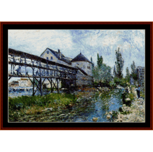 provencer's mill at moret - sisley cross stitch pattern by cross stitch collectibles