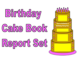 birthday cake book report set