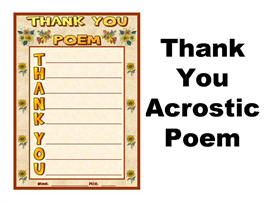 thank you acrostic poetry set