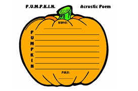 pumpkin acrostic poetry set