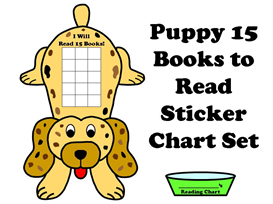 Puppy 15 Books to Read Sticker Chart Set | Other Files | Documents and Forms