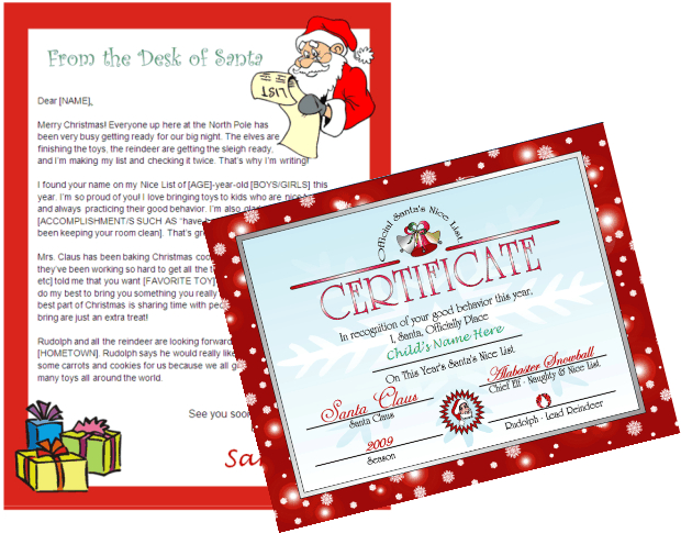 Printable letter from santa and nice list certificate other files printable letter from santa and nice list certificate spiritdancerdesigns Choice Image