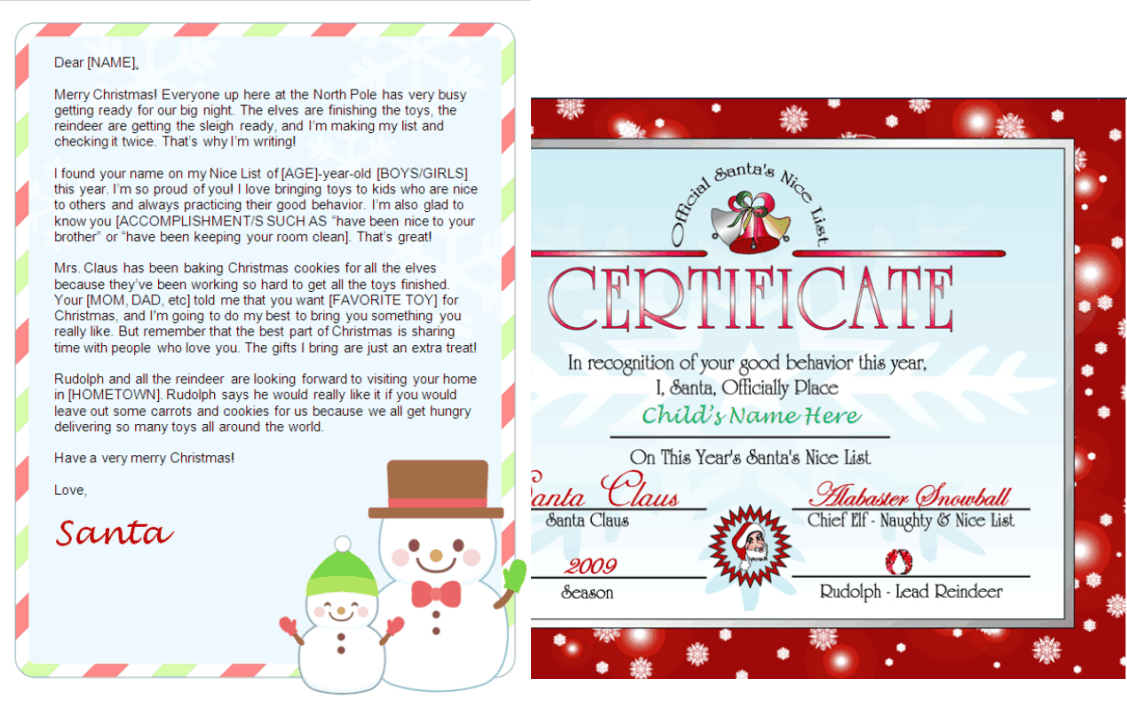 Personalized Santa Letter And Nice List Certificate Snowman Design