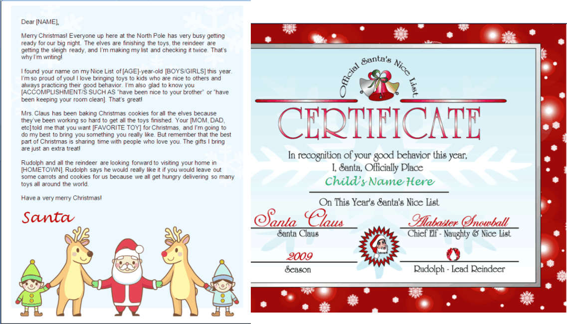 Printable Santa Letter And Nice List Certificate Santa And Friends