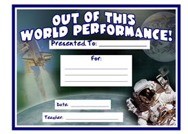 out of this world performance award