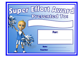 Super Effort Cheerleader Award | Other Files | Documents and Forms