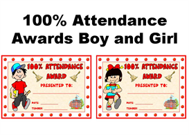 100 percent attendance boy and girl award