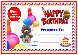 happy birthday award certificate