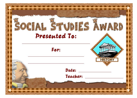 Social Studies Award Certificate | Other Files | Documents and Forms