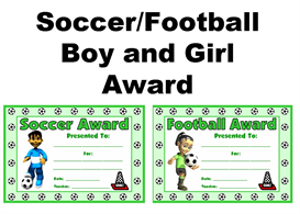 soccer/football boy and girl awards