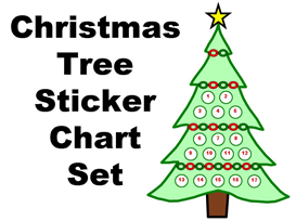 christmas tree sticker chart set