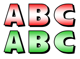 abc december bulletin board letters set (red and green)