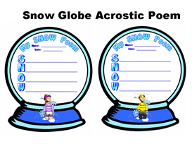 snow globe acrostic poem set