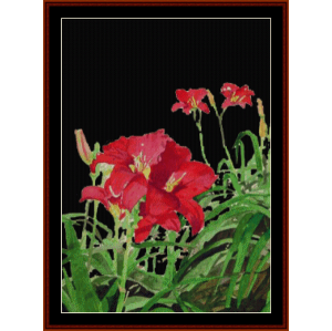 red day lilies, night - floral cross stitch pattern by cross stitch collectibles