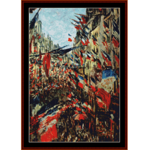 rue montargueil with flags - monet cross stitch pattern by cross stitch collectibles