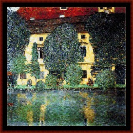 schloss kammer on the attersee - klimt cross stitch pattern by cross stitch collectibles
