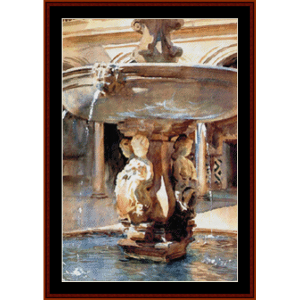 spanish fountain - sargent cross stitch pattern by cross stitch collectibles