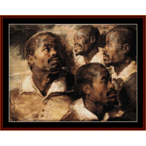 study - four heads - rubens cross stitch pattern by cross stitch collectibles