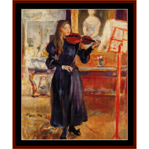 studying the violin - morisot cross stitch pattern by cross stitch collectibles