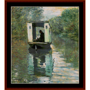 the studio boat - monet cross stitch pattern by cross stitch collectibles