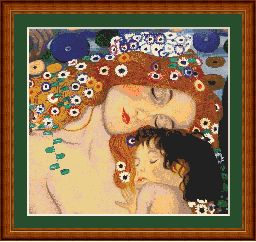 klimt mother and child cross stitch