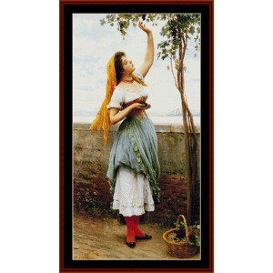 grape picker - alma tadema cross stitch pattern by cross stitch collectibles