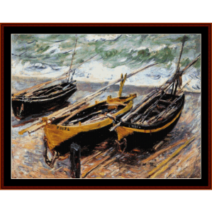 three fishing boats - monet cross stitch pattern by cross stitch collectibles