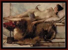 the tepidarium - alma tadema cross stitch pattern by cross stitch collectibles