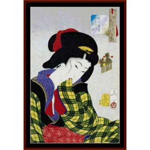 ukiyo-e 3 - asian art cross stitch pattern by cross stitch collectibles