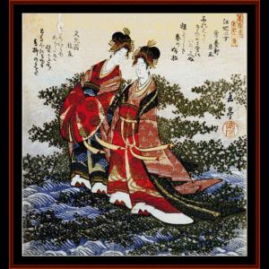 ukiyo-e 4 - asian art cross stitch pattern by cross stitch collectibles
