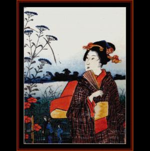 ukiyo-e 5 - asian art cross stitch pattern by cross stitch collectibles